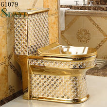 Ceramic gold color wc toilet bowl bathroom golden toilet seat