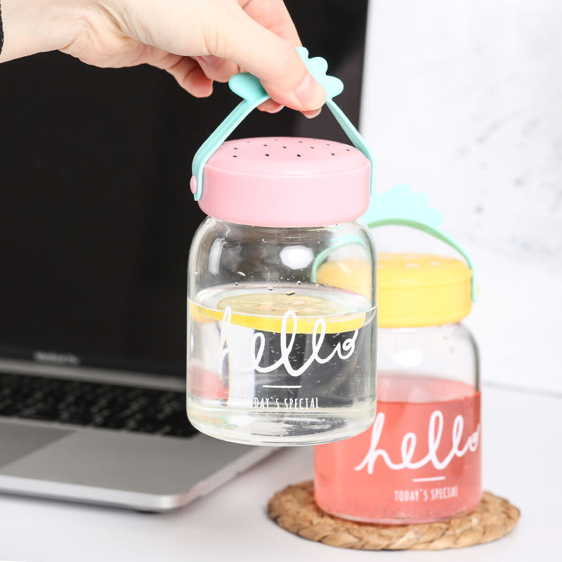 Cute custom design private label drinking water eco friendly borosilicate glass bottle bpa free for kids