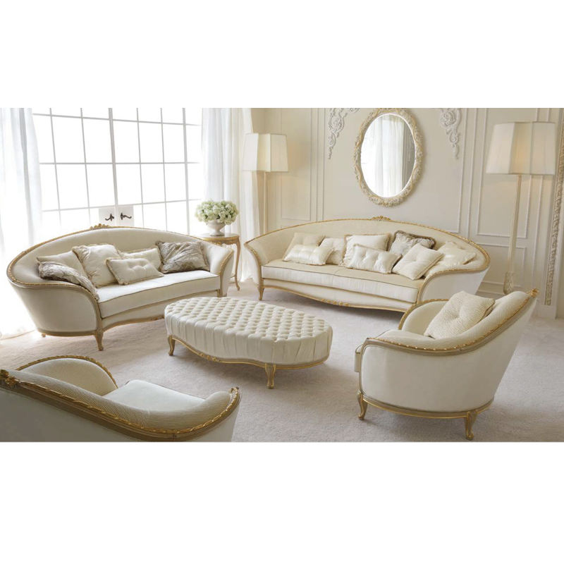 Franse Fairy Princess Voel Crème Wit Rococo Bladgoud Sofa Set Antieke Woonkamer Art Meubels Set High End Home meubels