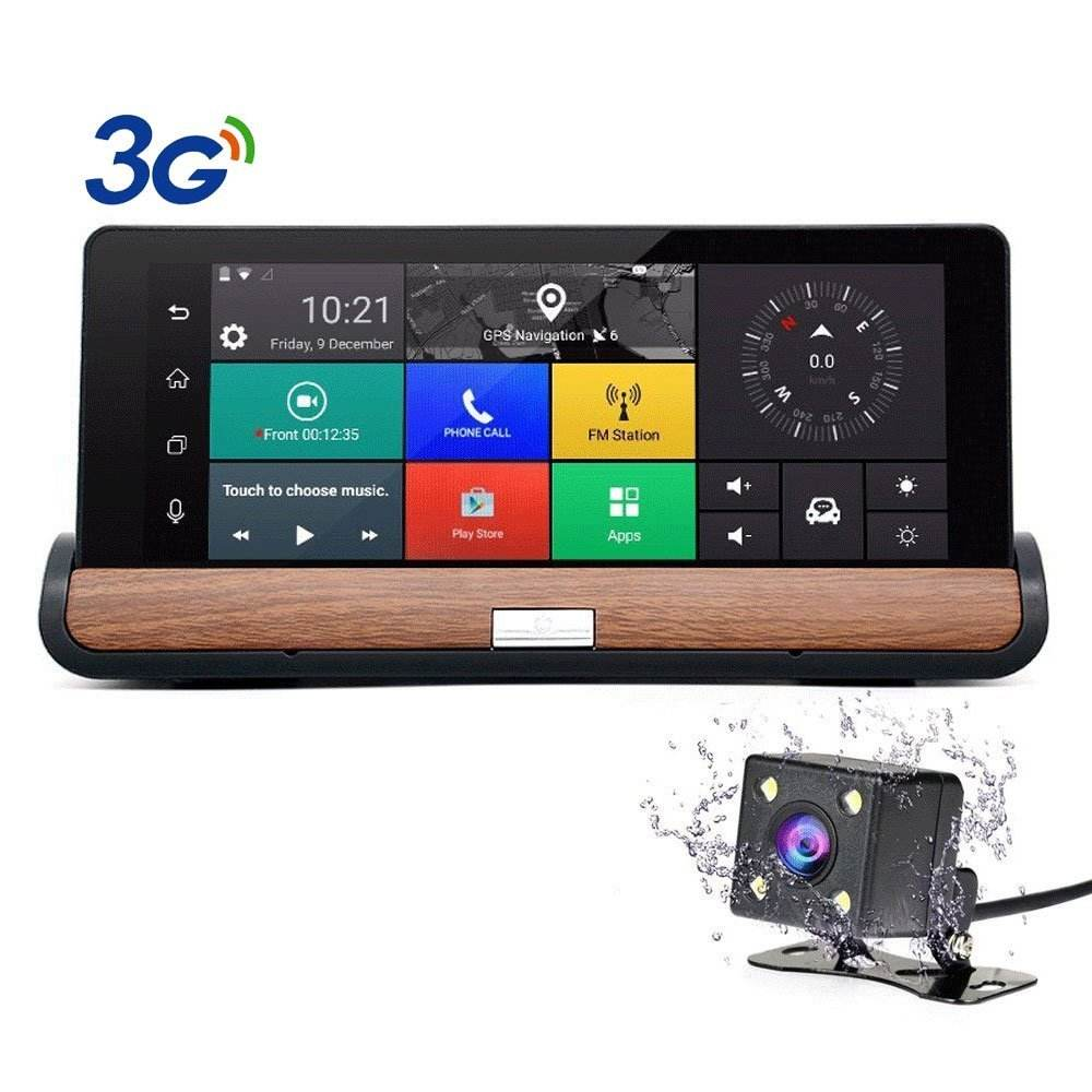 Full HD 1080P 7 inch touch screen GPS Navigation android 3G sim card wifi bluetooth rearview mirror dash cam car recorder