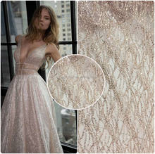 2020 rose gold elegant glitter tulle lace fabric for garment fashion show dress HuaYF HY0623