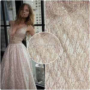 2020 Mawar Emas Elegan Glitter Tulle Lace Fabric untuk Garment Fashion Dress Huayf HY0623