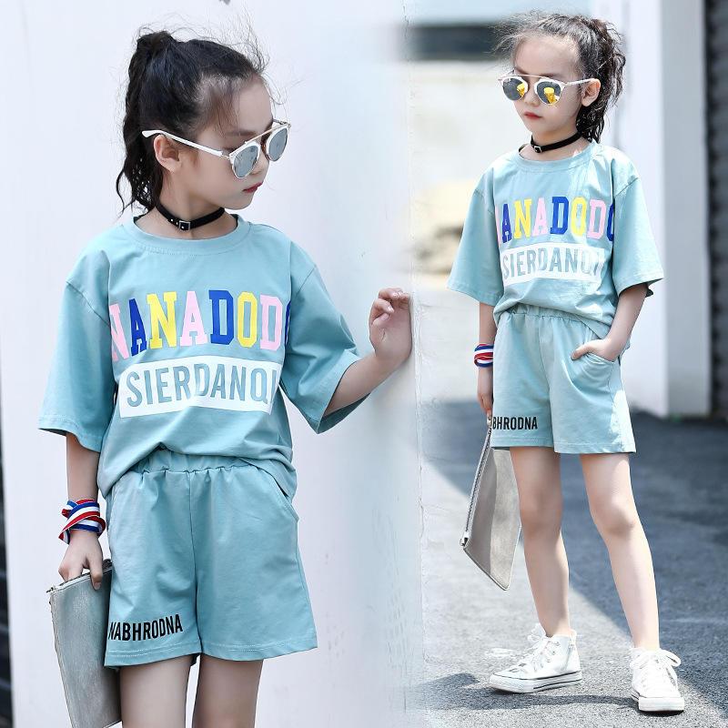 Teen girl short sleeve cotton t-shirt and shorts sets 2018 korean girl children sports clothing sets