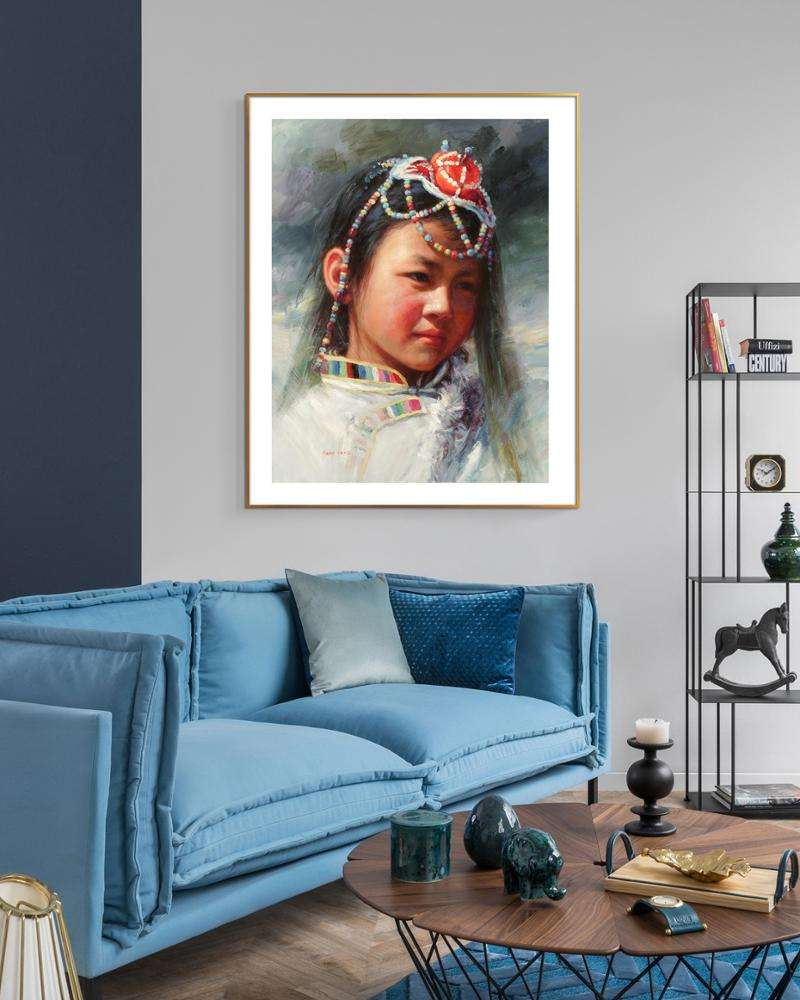 Modern Chinese figures girls in Chinese dress artist canvas painting framed giant poster home art decor