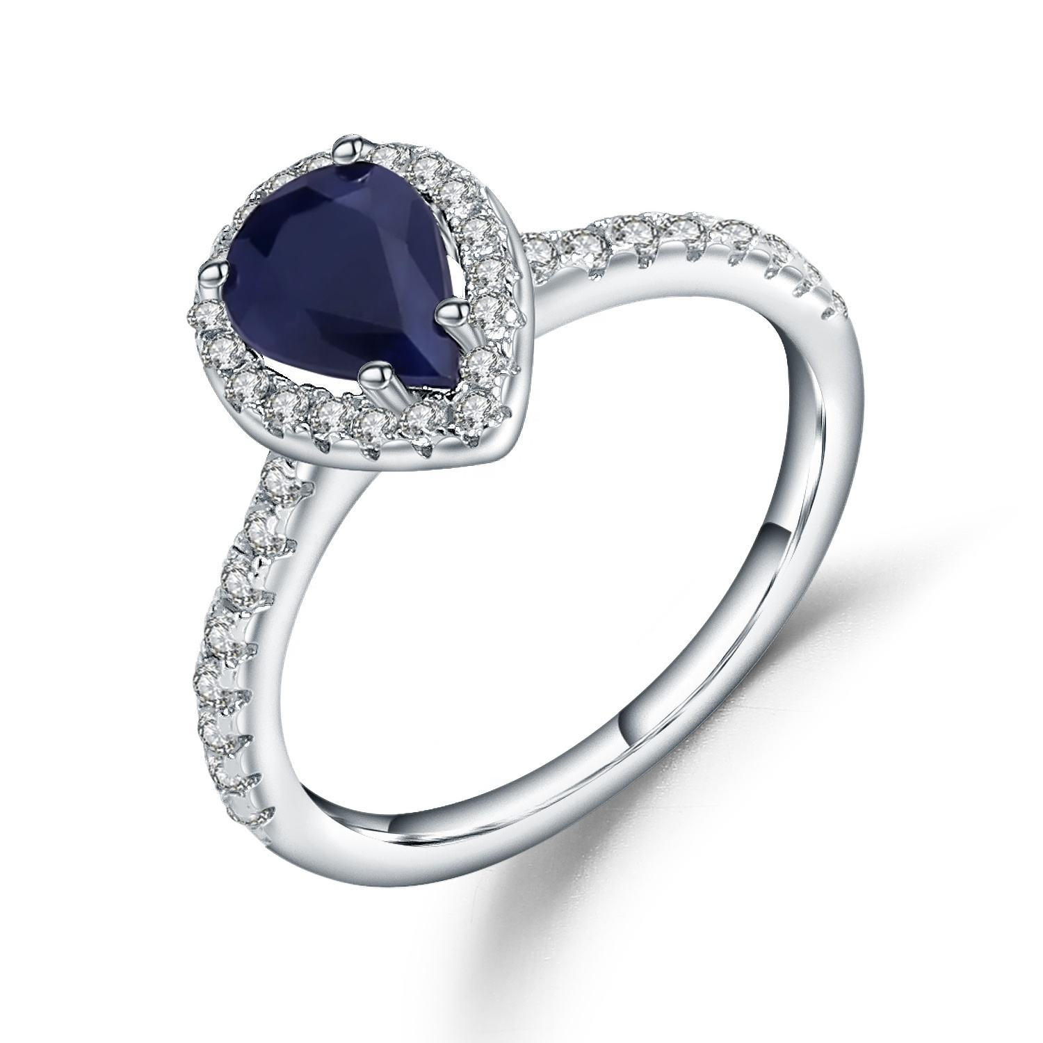 Abiding Classic Natural Blue Sapphire Engagement Finger Ring Half Eternity Diamond Silver Wedding Jewelry Rings
