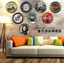High quality dia 35cm bottle cap tin signs for hotel bar wall decoration retro vintage style metal signs