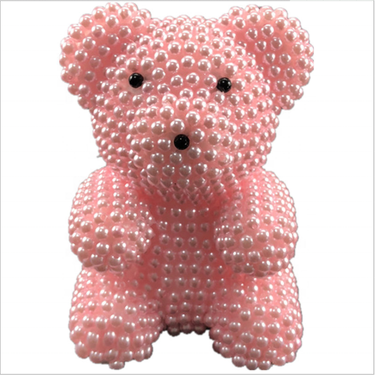 White Foam Pearl Bear DIY Rose Bear Mold Toy for Valentine's Day Party Wedding Decoration Bubble Foam Flower Teddy Bear
