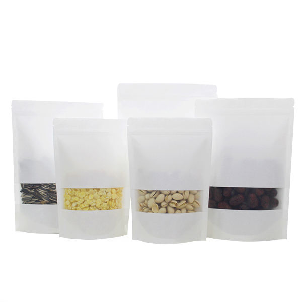 Recycle kraft paper zipper lock packaging bag for nut food/dried fruit food stand up pouch bag