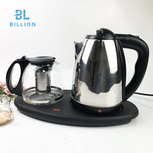 1.8L Tea pot and kettle set with Coffee Pot Wireless Cordless Electric Kettle Tray Set Wholesale