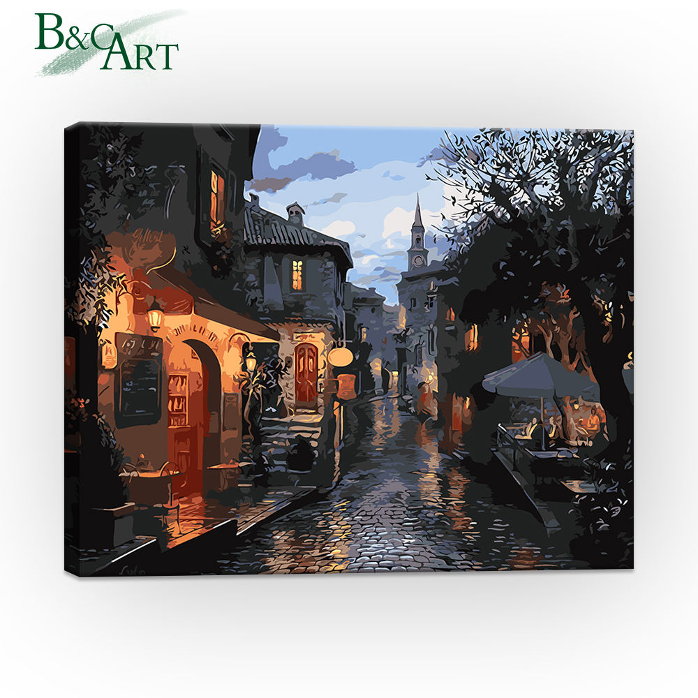 Impressionist Town Scenery Paint by Number Pictures DIY Digital Painting Kits for Custom