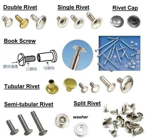 Snap rivet, klinknagel sluiting, klinknagel, tubular klinknagel, semi buisvormige klinknagel, bifurcated klinknagel