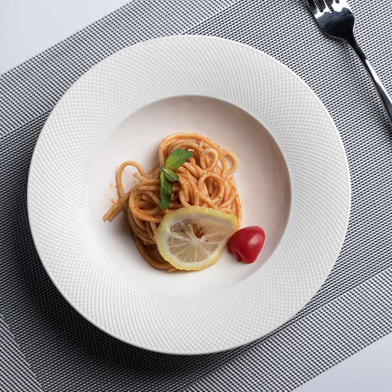 Hosen 28 Factory Good Price Hotel Dish Set, Manufacturer Wholesale Stock Restaurant White Porcelain Ceramic Pasta Plate<