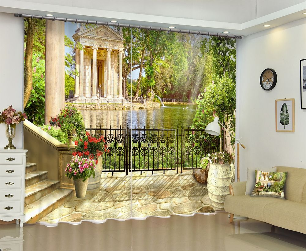 Private homes 3D Landscape High Quality Blackout Curtains