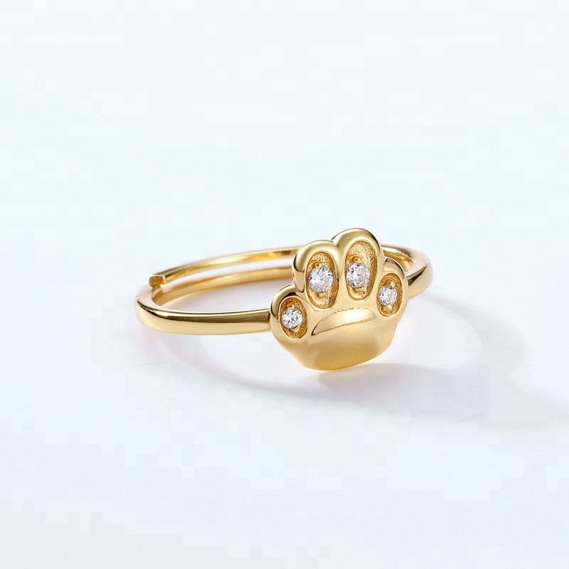 Logo Customization [ Cat Ring ] Name Ring S925 Sterling Silver Cute Pet Lover Jewelry Cat Dog Paw Print Ring