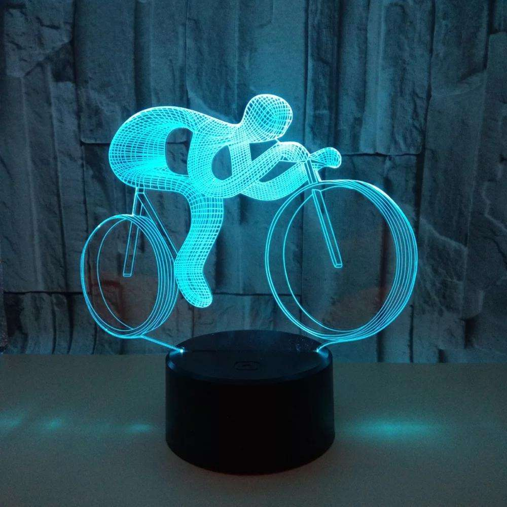 Night Light 3D Bike Lamp 7 Colors Changing LED 3D Night Lights for Kids or as Gifts for Women Kids Girls Boys