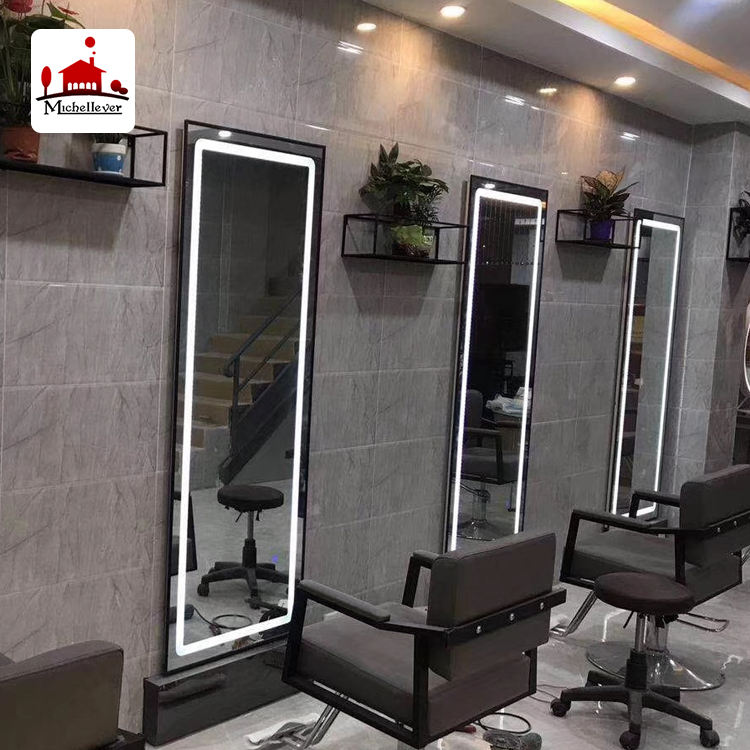 rectangle 4 sided led salon mirror station led beauty hair salon wall mounted mirrors for sale