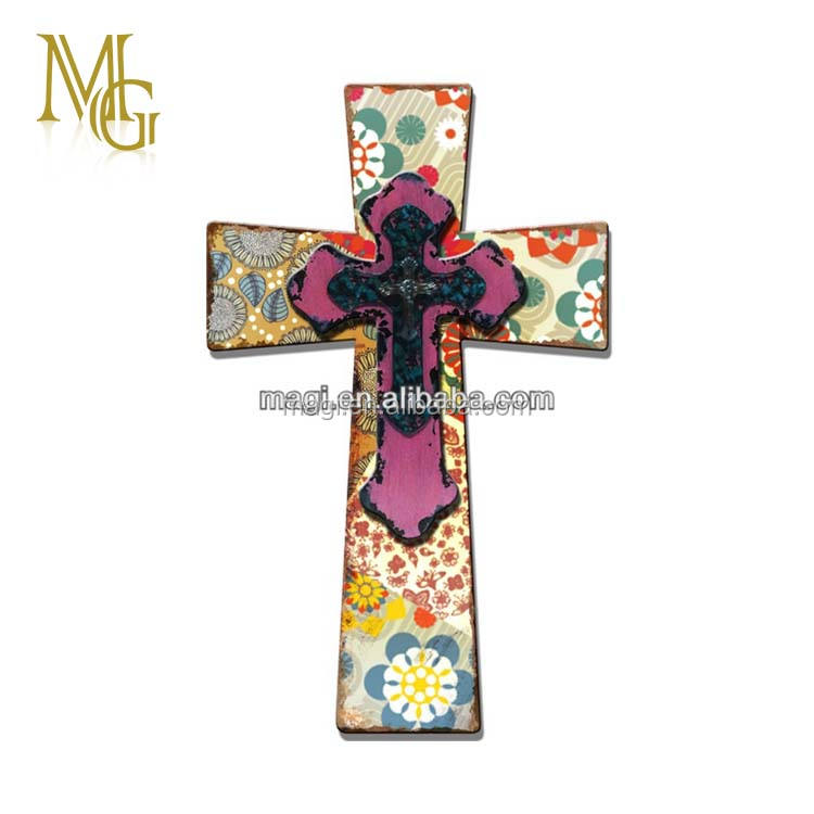Wall decorative wooden cross craft