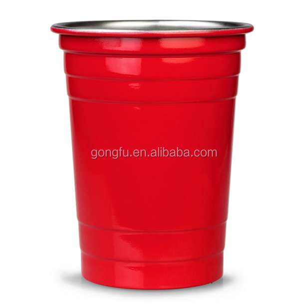 Stainless Steel Red Party Cups 500ml ,stainless steel solo cup ,16oz beer pong cup