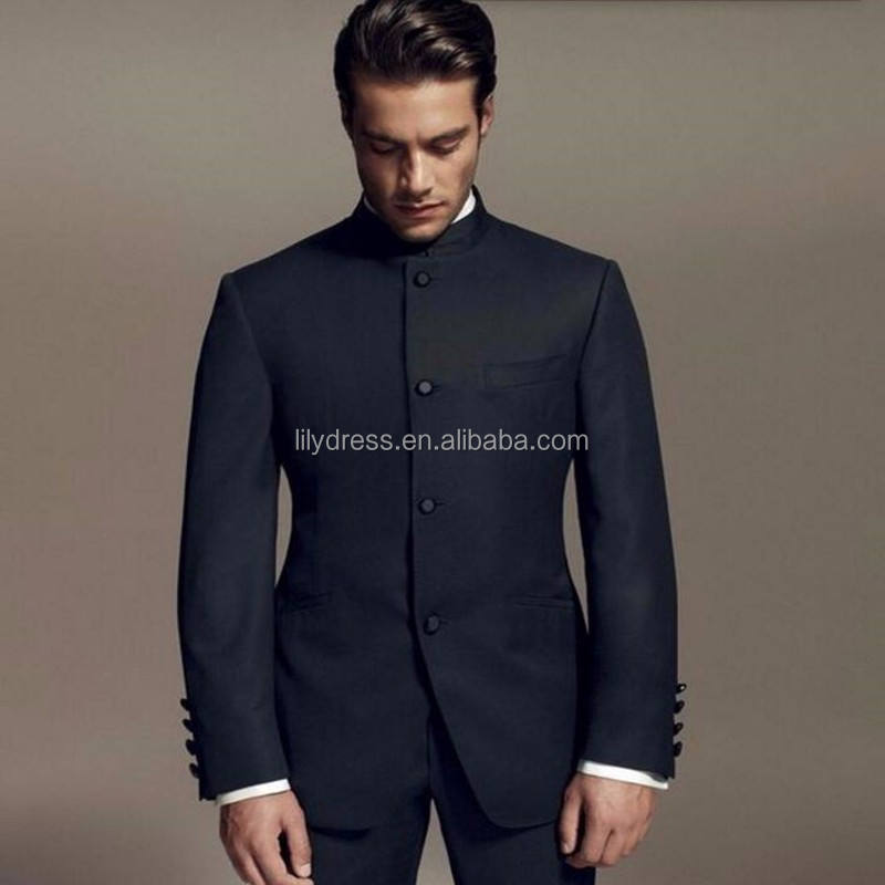 Latest Designs Style Groom suits Standing Collar Tuxedos black Mandarin collar Men Wedding suits Dinner Suits jacket+pants