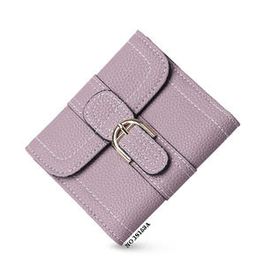 Leather short wallet mini car stitching Two fold women leather wallet holders
