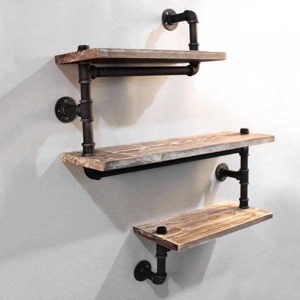 3 Level Rustic Bookshelf Industrial Pipe and Wood Shelf, Vintage Look Wall Mount Shelving