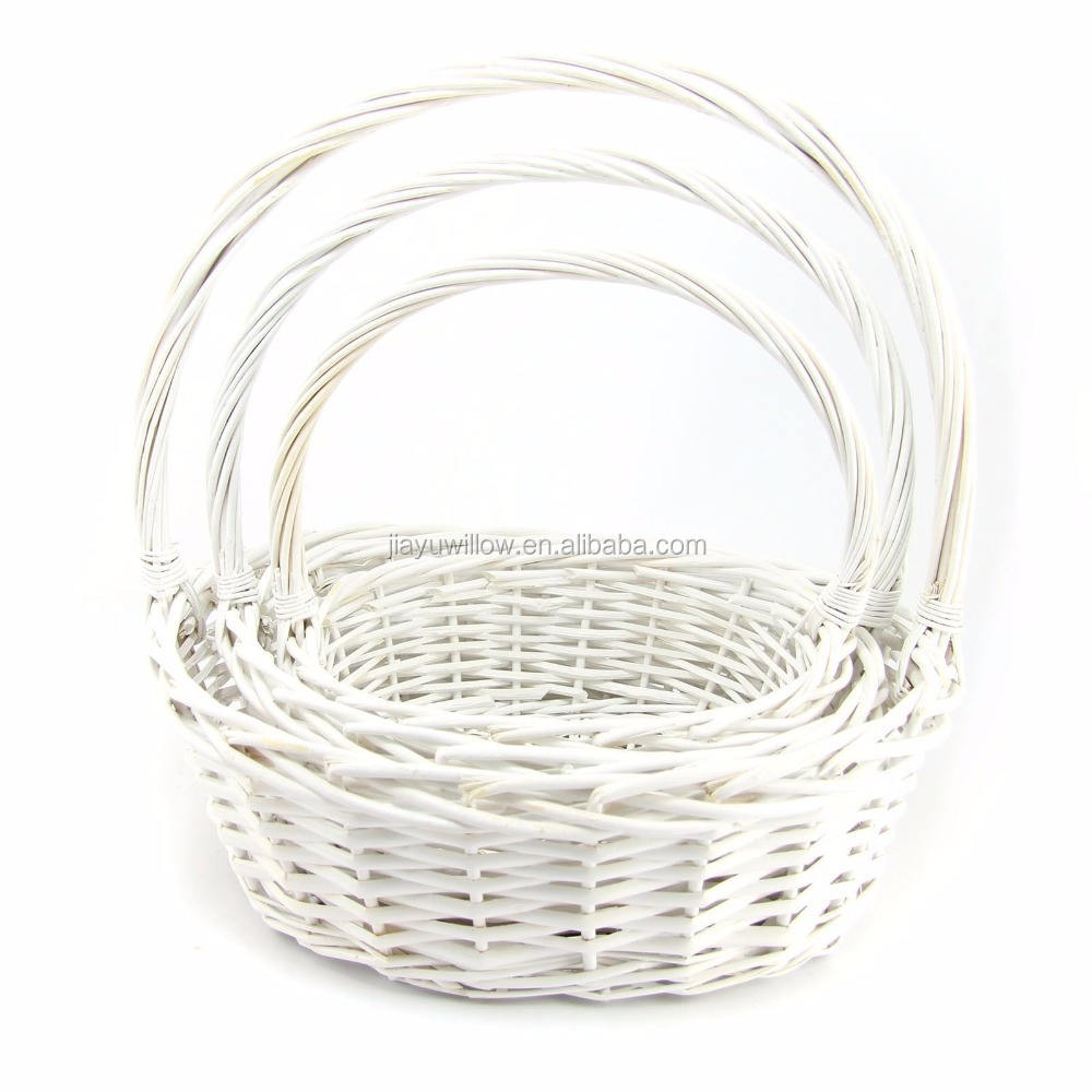 White Wicker Tall Hamper Basket Set or Single! Moses Shopping Wedding Wicker Basket