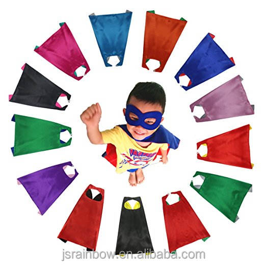 Wholesale superhero kids cape superhero capes and mask bulk set dress up for kids - children DIY birthday party costumes