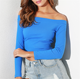 ORHYME 2019 New Slim Fit Long Sleeve Off One-Piece Shoulder Solid Color Blouse