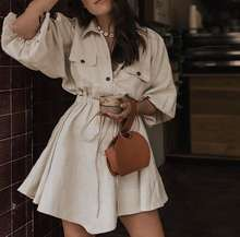 Vintage elegant women mini shirt dress Casual lantern sleeve short dress Turn down collar lace up linen female dresses