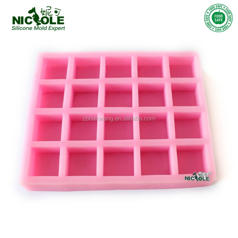 DIY R0408 20 holes 3d handmade basic square soap silicone rubber mould