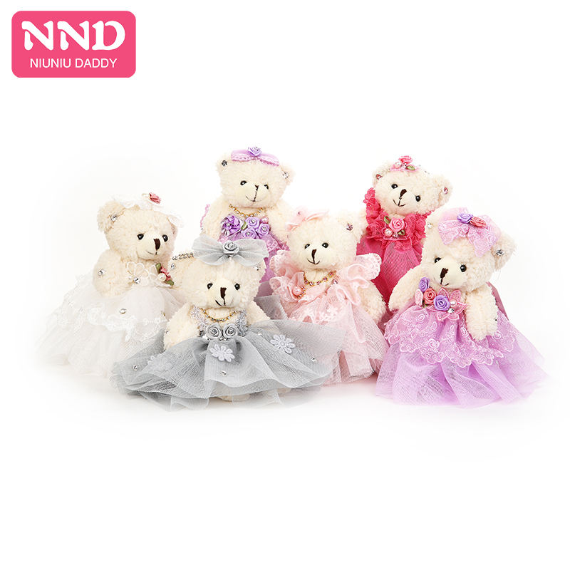 Niuniu Daddy Teddy Bear Stuffed Animals Cute Plush Toys Kawaii Dressing Doll 14cm Mini Wedding Decoration Children Girls Gift