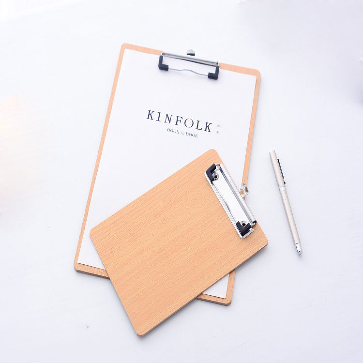 Factory wholesale mental clip A4 size wooden clipboard