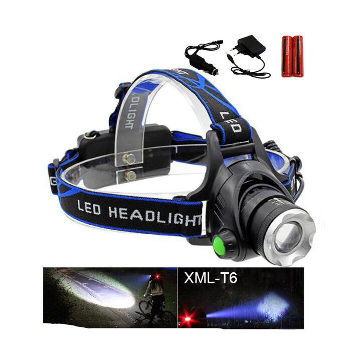 Rechargeable XML T6 2000Lumens Zoom Head Lamp torch LED Headlamp + 18650 Battery Headlight Flashlight Lantern night fishing