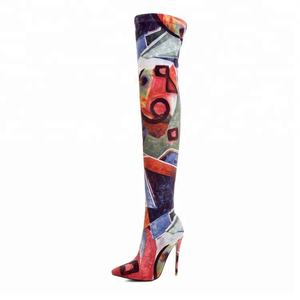 2018 printing sexy girl long boots pointy toe high heels women thigh high boots