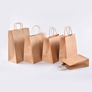 Customizable Recycled Flat Bottom Shopping Merchandise Hand Paper Craft Bags Take Away