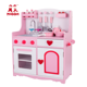 Pretend children role play toy pink stove wooden kids play kitchen set with accessories