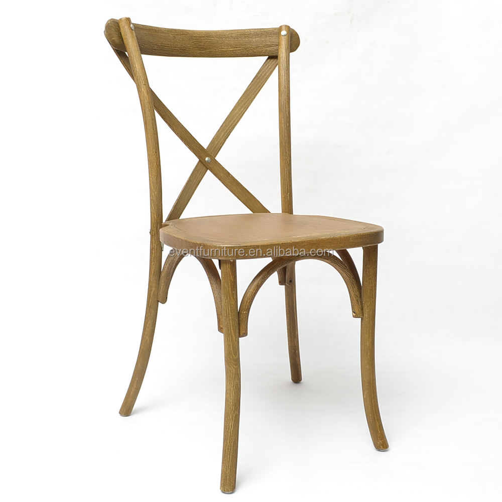 Stackable french antique design corss back dinning chair
