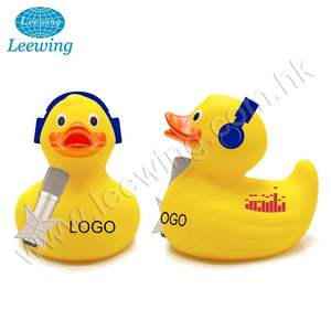 Factory Price Promotional Gift Item PVC Phthalate Free Custom Disco DJ Radio Singer Presenter Yellow Rubber Duck with Headphone