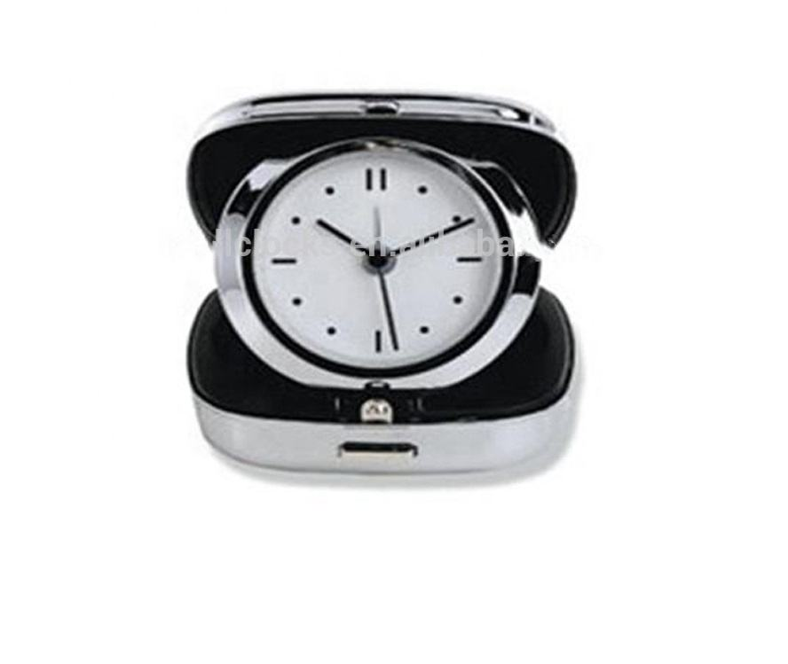 Fashion Sliver Color Travel Classic Foldable Metal Alarm Table Clock
