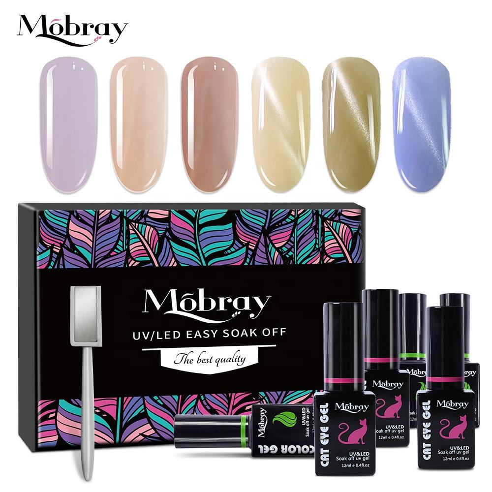 Mobray arte de uñas caja de regalo LED UV barniz de uñas set 12 ml brillo colores gel polaco kit