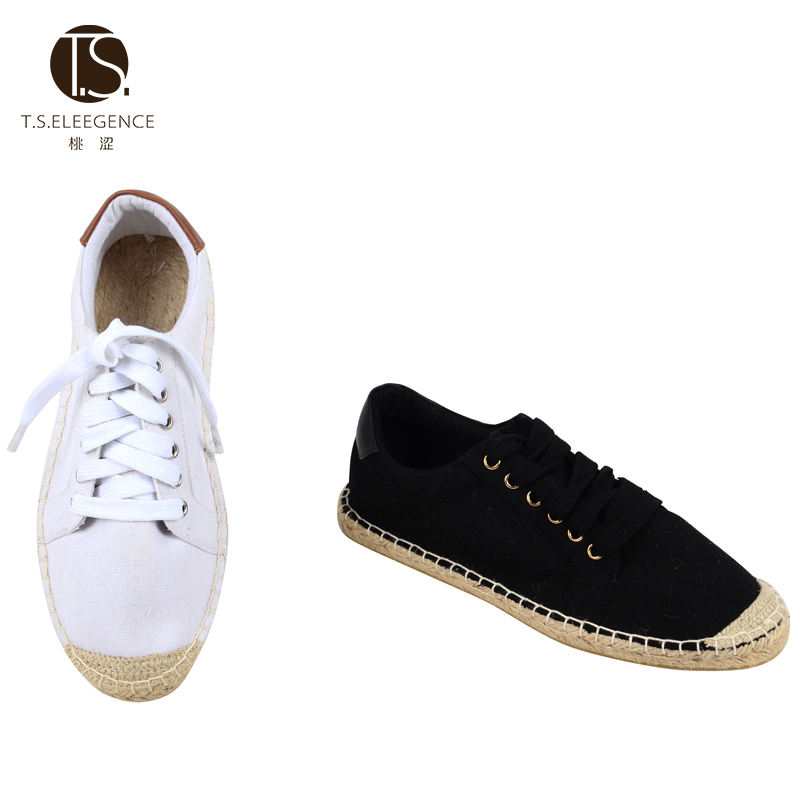 China Factory Rope Jute Sole Espadrille women flat lace up flat canvas espadrilles flats