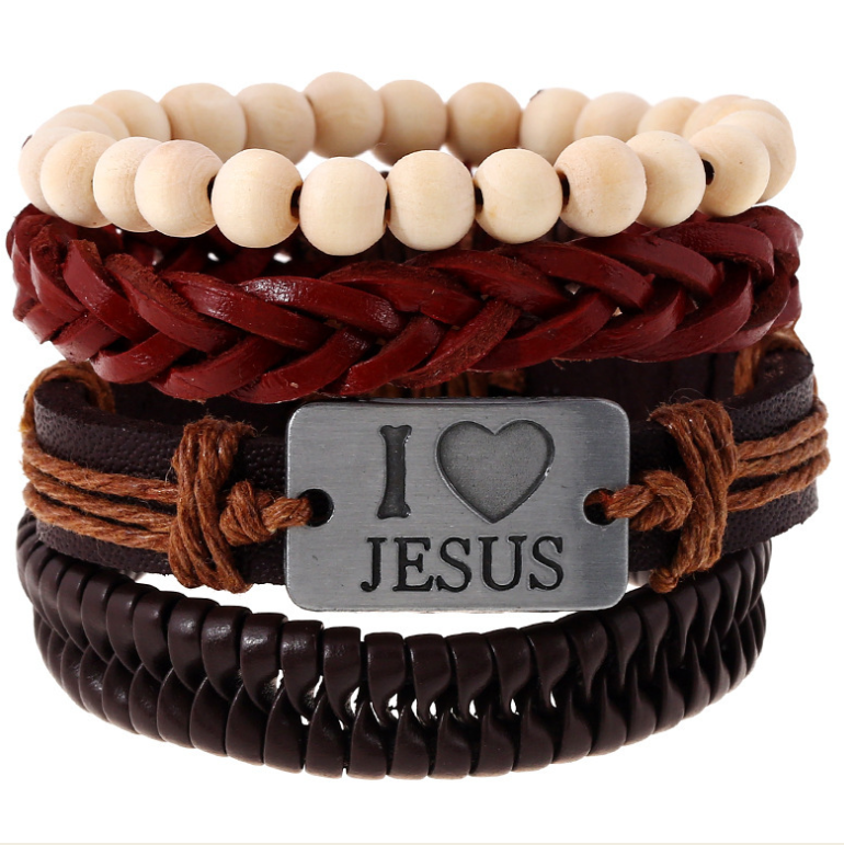 wholesale I love Jesus Bohemian Leather Wide Bracelet Multi-layer For men hands