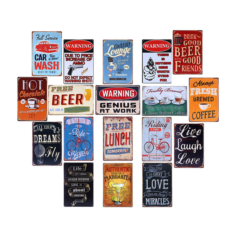 China wholesale 20x30cm vintage retro tin signs metal plate for restaurant wall decoration