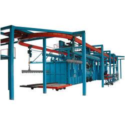 China continuous automatic overhead conveyor hook shot blasting machine
