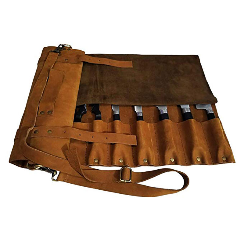 Personalized Custom High Quality Leather Kitchen Chef Knife Bag Durable Men Roll Chef Bag with Shoulder Strap