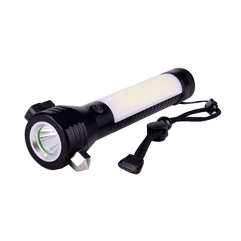 Multi-function Waterproof AAA Battery Powered led Flashlight Magnetic Aluminum Car Safety Hammer Work Light Torch
