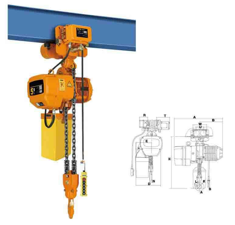 HSY type pulling lift 5 ton 5000kg 10000BLs electric chain hoist electric chain winch