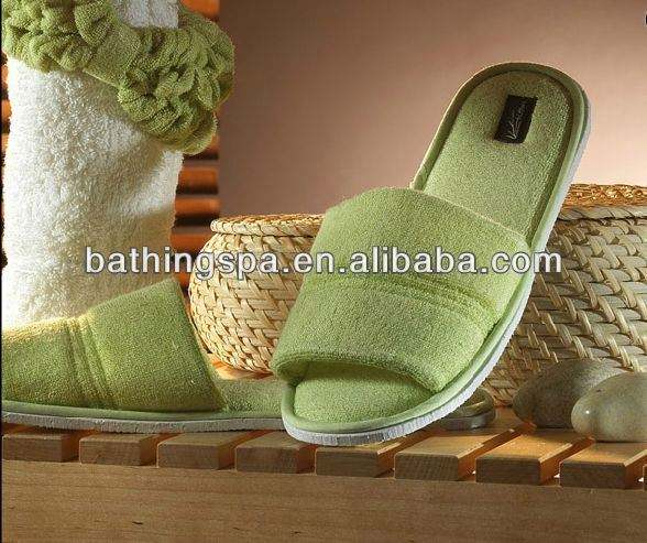 Hot selling bamboo terry towelling bath slippers