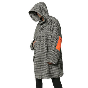 OEM Mens Long Sleeve Elbow Patches Oversize Houndstooth Hooded Padded Parka Coat