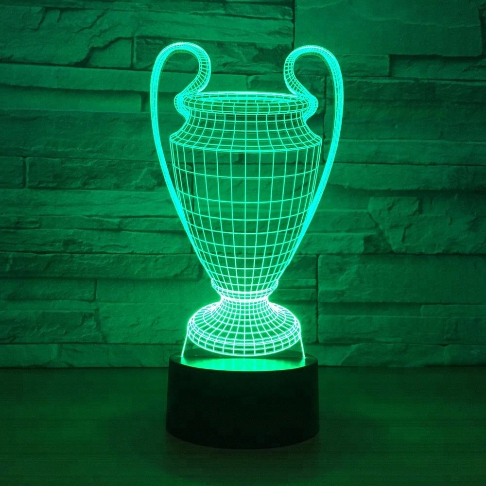 Trophy 3D Lamp 7 Colors Changing LED Night Light Touch Button USB Bedroom Sleep Luminaria Friends Gift Drop Shipping